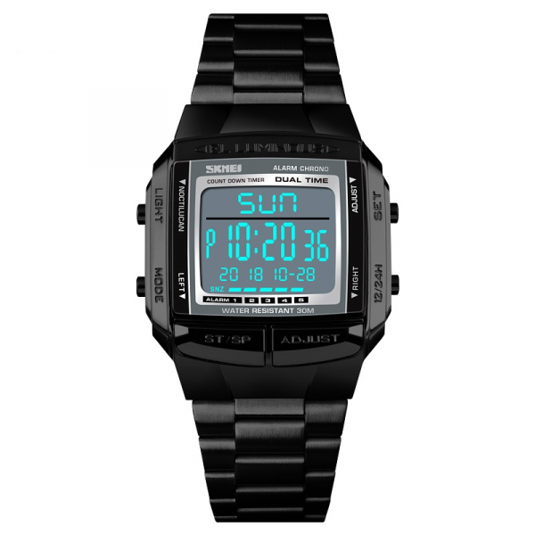 Ceas barbatesc Casual Cronograf Digital LED Alarma Otel inoxidabil 1
