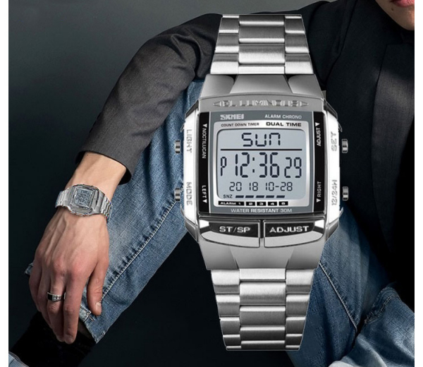 Ceas barbatesc Casual Cronograf Digital LED Alarma Otel inoxidabil 3