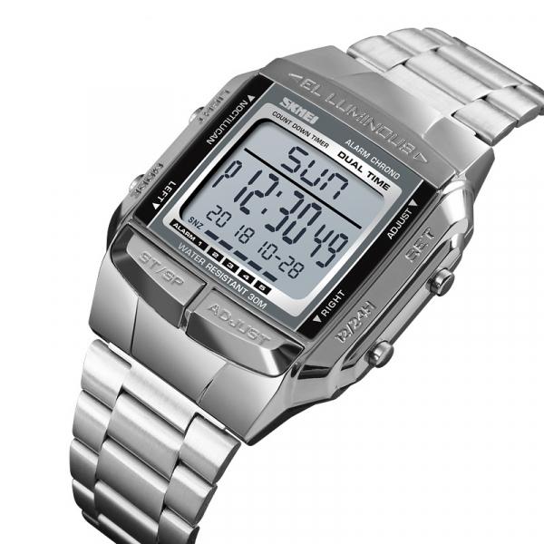 Ceas barbatesc Casual Cronograf Digital LED Alarma Otel inoxidabil 0