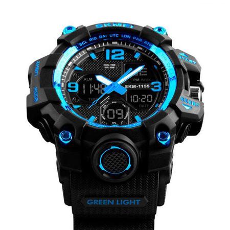 Ceas barbatesc, Skmei, Shock resistant, Cronograf, Army, Militar, Sport, Digital, Rezistent la apa si socuri, Albastru 1