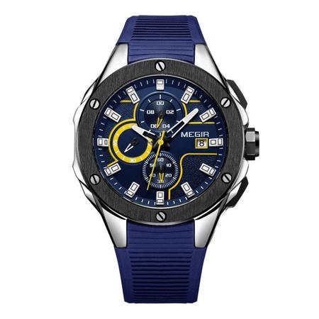 Ceas barbatesc, Megir, Analog, Sport, Casual, Fashion, Mecanism Quartz, Cronograf multifunctional, Curea silicon 0