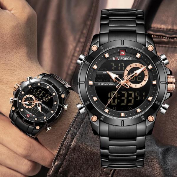 Ceas barbatesc Naviforce, Cronograf, Dual time, Quartz, Digital 3