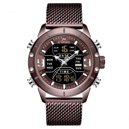 Ceas de mana barbatesc, NaviForce, Digital/Analog, Elegant, Bussines, Fashion, Mecanism Quartz Seiko Japonez 1