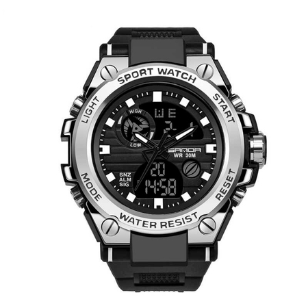 Ceas barbatesc, Sanda, Sport, SHOCK Resistant, Dual time, Analog, Digital, Casual, Cronometru, Alarma 0