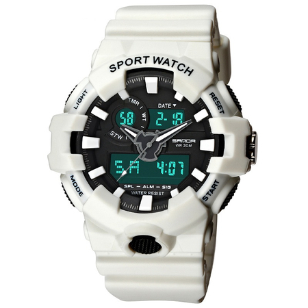 Ceas barbatesc, Sanda, Sport, Shock Resistant, Digital, Dual Time, Quartz, Alarma, Cronometru, Led 0