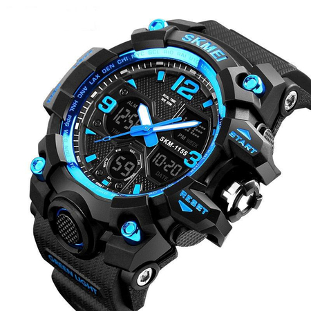 Ceas barbatesc, Skmei, Shock resistant, Cronograf, Army, Militar, Sport, Digital, Rezistent la apa si socuri, Albastru 0
