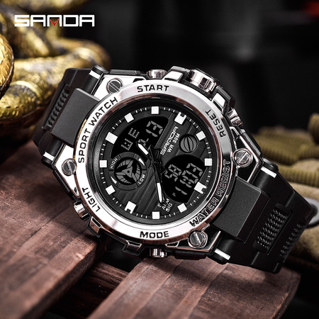Ceas barbatesc, Sanda, Sport, SHOCK Resistant, Dual time, Analog, Digital, Casual, Cronometru, Alarma 3