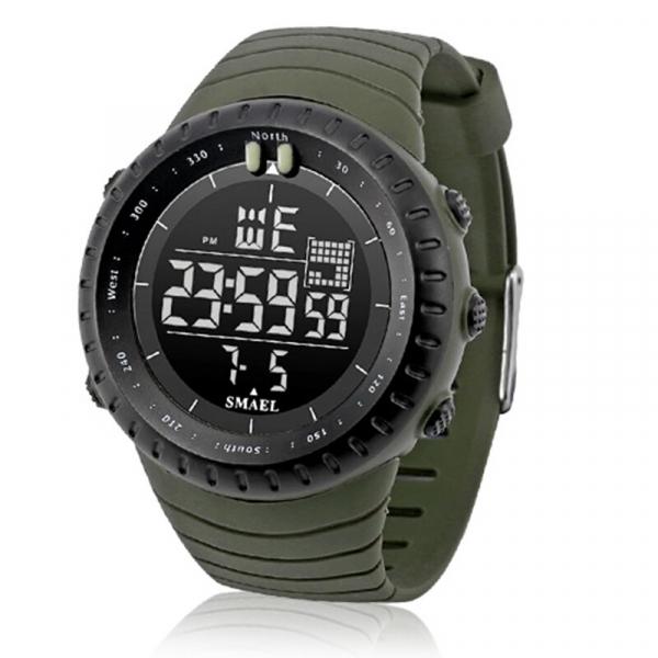 Ceas barbati Smael 1237, Sport, Digital, Rezistent la socuri, Army Green 1