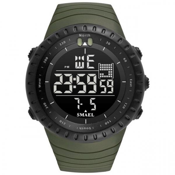 Ceas barbati Smael 1237, Sport, Digital, Rezistent la socuri, Army Green 0