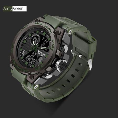 Ceas barbatesc, Sanda, Militar, Dual-time, SHOCK Resistant, Mecanism Quartz, Analog, Digital, Casual, Sport, Cronometru, Alarma, Army Green 1