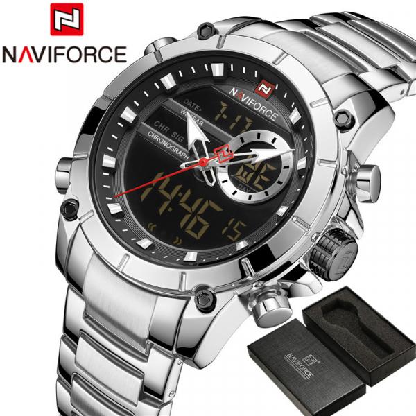 Ceas barbati elegant, Naviforce, Cronograf, Top Brand, Luxury, Quartz, Dual-time [3]