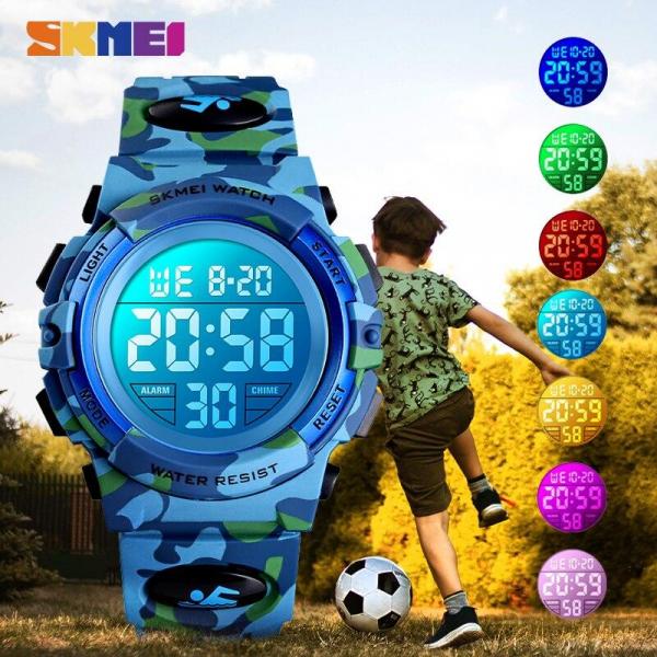 Ceas copii Skmei Digital Sport Army Alarma Cronometru 3