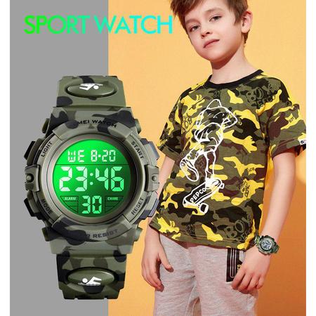 Ceas copii, Pentru baieti, Skmei, Sport, Alarma, Cronometru, Digital, Camuflaj, Army Green 3