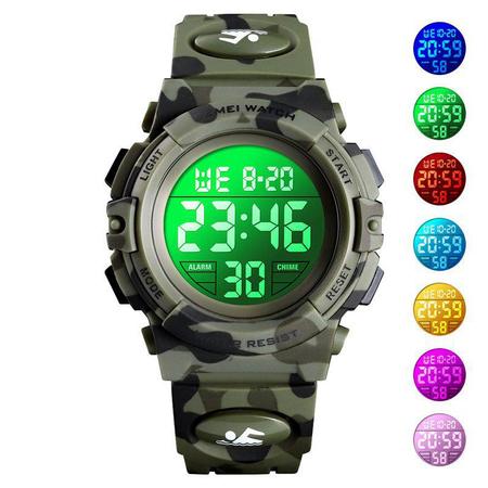 Ceas copii, Pentru baieti, Skmei, Sport, Alarma, Cronometru, Digital, Camuflaj, Army Green 4