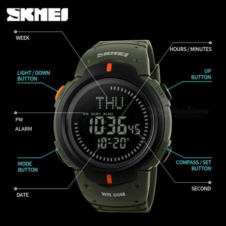 Ceas barbatesc Skmei, Busola, Compass, Ora Globala, 3 alarme, Cronometru, Cronometru invers 3