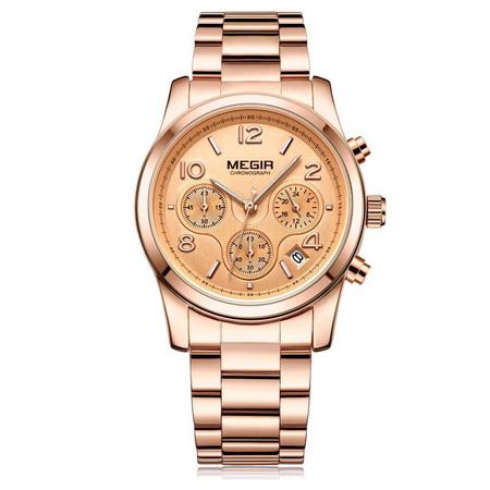 Ceas dama, Megir, Casual, Elegant, Fashion, Business, Cronograf, Mecanism Quartz, Afisaj Analog 0
