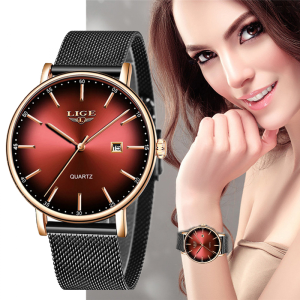 Ceas de dama Fashion Luxury Ultra subtire Quartz Otel inoxidabil 2