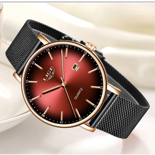 Ceas de dama Fashion Luxury Ultra subtire Quartz Otel inoxidabil 4