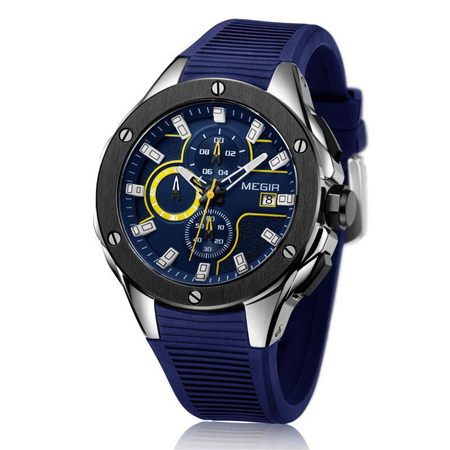 Ceas barbatesc, Megir, Analog, Sport, Casual, Fashion, Mecanism Quartz, Cronograf multifunctional, Curea silicon 1