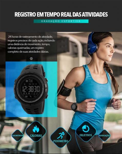Ceas Smartwatch Skmei, Pedometru, Calorii, Alarma, Distanta,Sport, Bluetooth, Digital 4