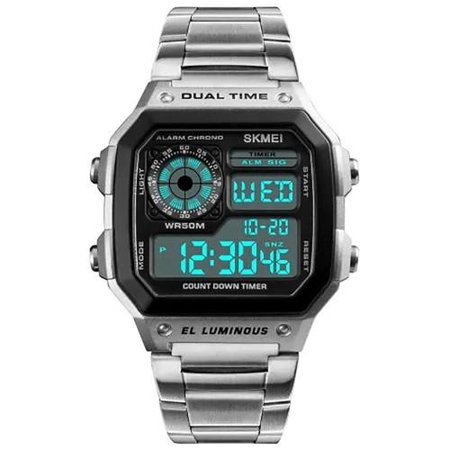 Ceas de mana barbatesc Casual Digital Alarma Cronograf Otel inoxidabil 1