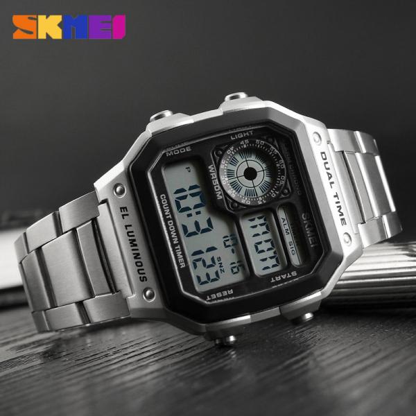 Ceas de mana barbatesc Casual Digital Alarma Cronograf Otel inoxidabil 2