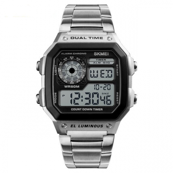 Ceas de mana barbatesc Casual Digital Alarma Cronograf Otel inoxidabil 0