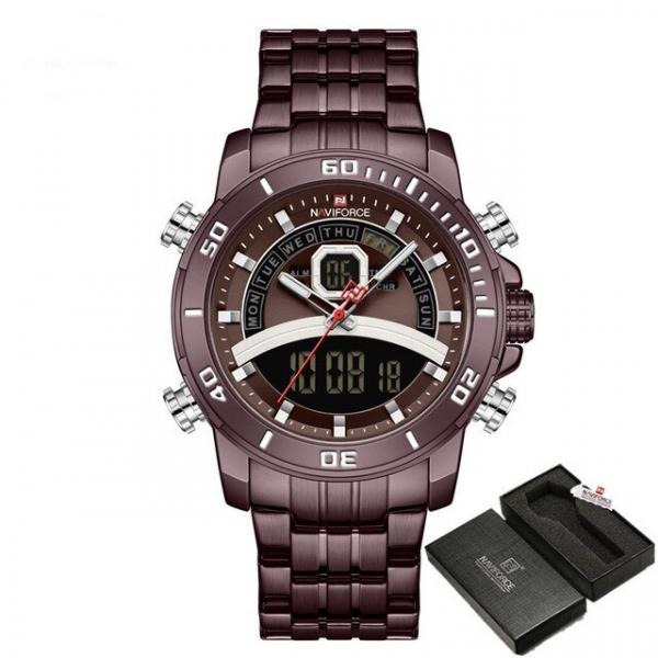 Ceas de mana barbatesc Casual Naviforce Dual Time Cronograf Quartz Otel inoxidabil 2