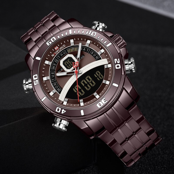 Ceas de mana barbatesc Casual Naviforce Dual Time Cronograf Quartz Otel inoxidabil 3