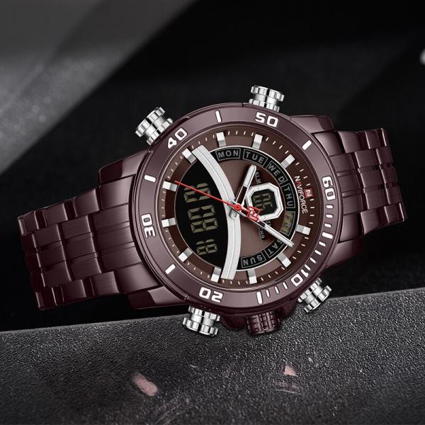 Ceas de mana barbatesc Casual Naviforce Dual Time Cronograf Quartz Otel inoxidabil 4