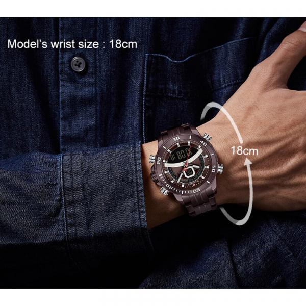 Ceas de mana barbatesc Casual Naviforce Dual Time Cronograf Quartz Otel inoxidabil 5