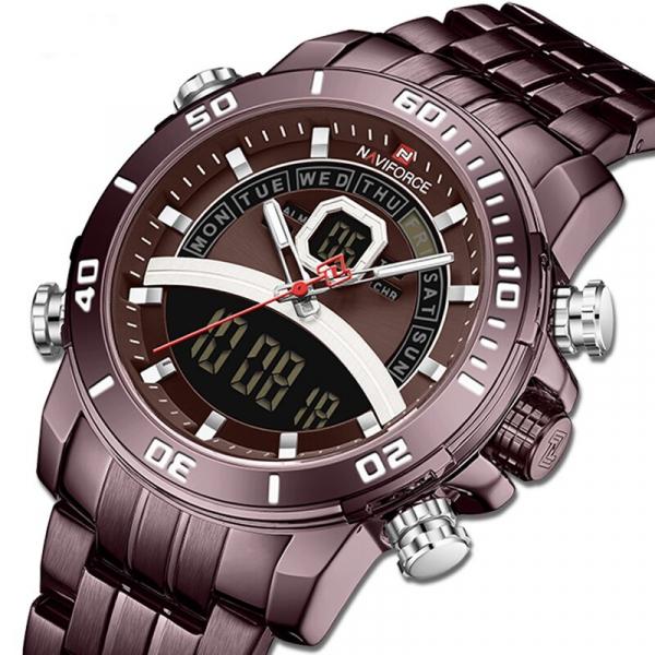Ceas de mana barbatesc Casual Naviforce Dual Time Cronograf Quartz Otel inoxidabil 1