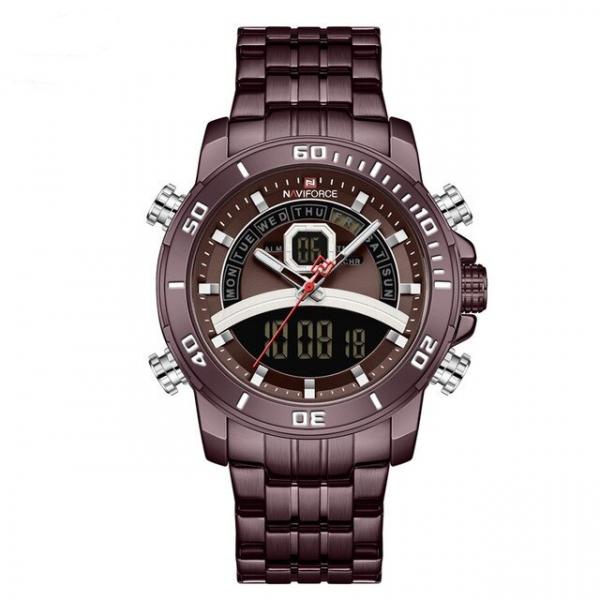 Ceas de mana barbatesc Casual Naviforce Dual Time Cronograf Quartz Otel inoxidabil 0