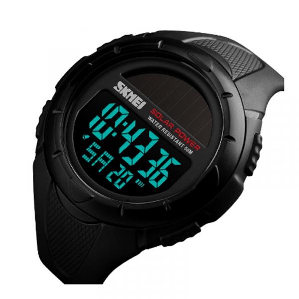 Ceas de mana barbati Incarcare solara Digital Sport Cronograf Rezistent la apa si socuri 0