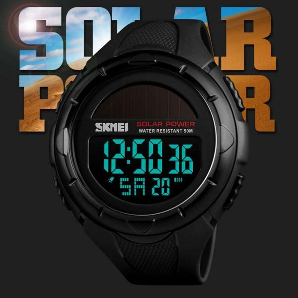 Ceas de mana barbati Incarcare solara Digital Sport Cronograf Rezistent la apa si socuri 2
