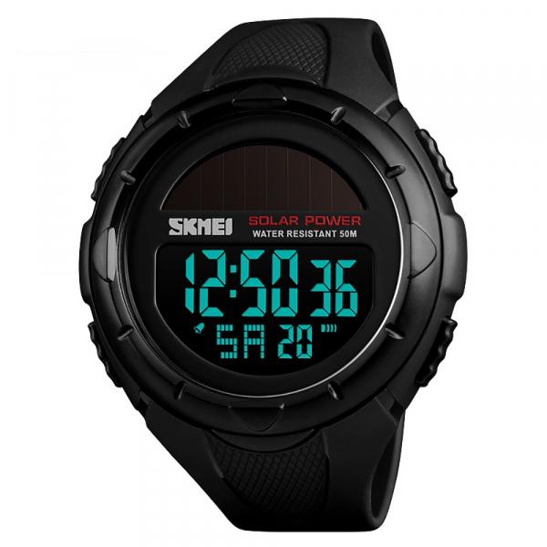 Ceas de mana barbati Incarcare solara Digital Sport Cronograf Rezistent la apa si socuri 3