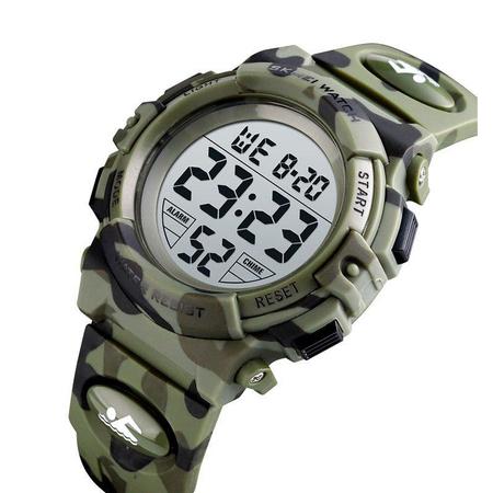 Ceas copii, Pentru baieti, Skmei, Sport, Alarma, Cronometru, Digital, Camuflaj, Army Green 1
