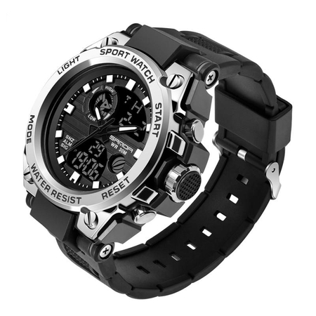 Ceas barbatesc, Sanda, Sport, SHOCK Resistant, Dual time, Analog, Digital, Casual, Cronometru, Alarma 1