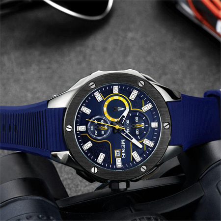 Ceas barbatesc, Megir, Analog, Sport, Casual, Fashion, Mecanism Quartz, Cronograf multifunctional, Curea silicon 3