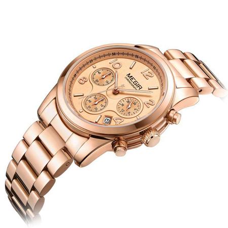 Ceas dama, Megir, Casual, Elegant, Fashion, Business, Cronograf, Mecanism Quartz, Afisaj Analog 1