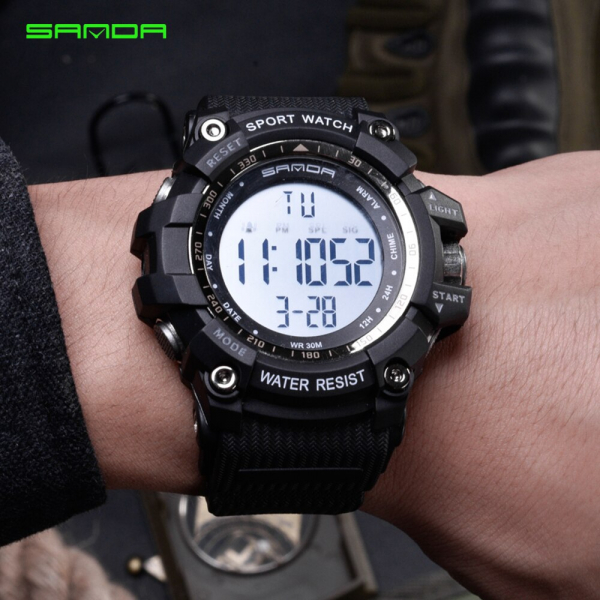 Ceas barbatesc Sanda, Sport, Militar, Army, Fashion, LED, Outdoor, Digital, Rezistent la apa, Cronometru, Alarma, Calendar 3