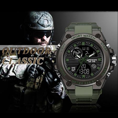 Ceas barbatesc, Sanda, Militar, Dual-time, SHOCK Resistant, Mecanism Quartz, Analog, Digital, Casual, Sport, Cronometru, Alarma, Army Green 2