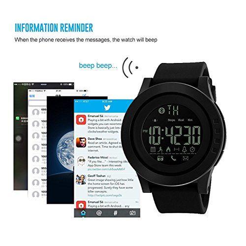 Ceas smartwatch Skmei 1255, Pedometru, Calorii, Distanta, Bluetooth, Buton Fotografiere 4