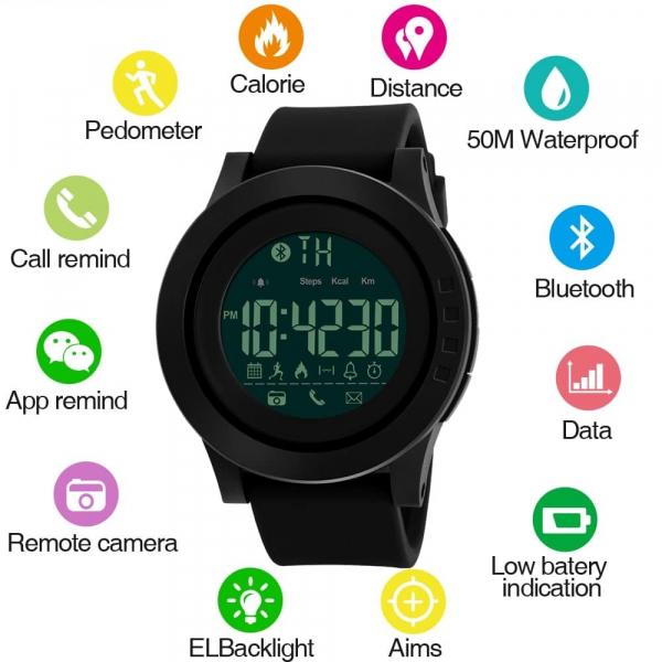 Ceas smartwatch Skmei 1255, Pedometru, Calorii, Distanta, Bluetooth, Buton Fotografiere 2
