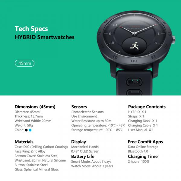 Ceas smartwatch hybrid, Monitorizeaza starea de sanatate, Activitati Fitness 8