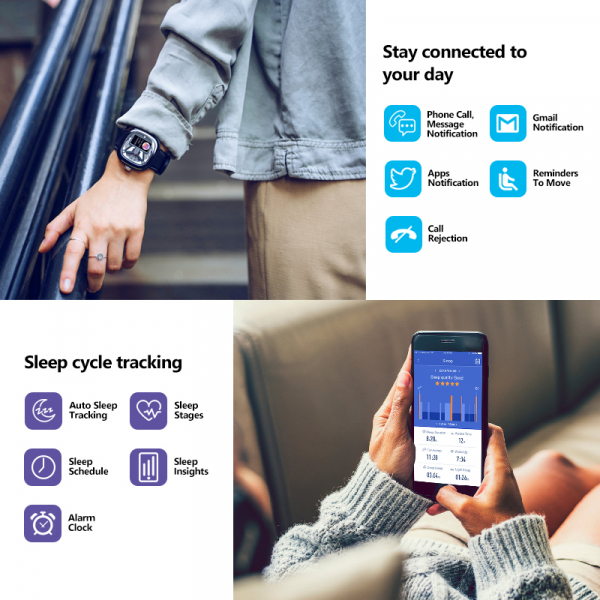 Ceas smartwatch mecanic Zeblaze Hybrid 2, Monitorizeaza sanatatea si activitatea fitness [18]