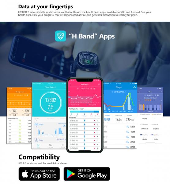 Ceas smartwatch mecanic Zeblaze Hybrid 2, Monitorizeaza sanatatea si activitatea fitness 9