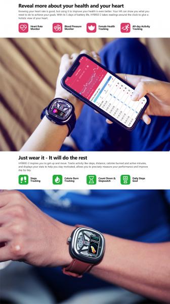 Ceas smartwatch mecanic Zeblaze Hybrid 2, Monitorizeaza sanatatea si activitatea fitness 13