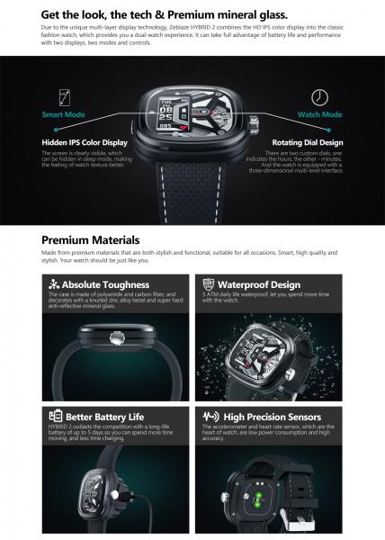 Ceas smartwatch mecanic Zeblaze Hybrid 2, Monitorizeaza sanatatea si activitatea fitness 14