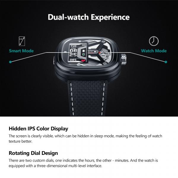 Ceas smartwatch mecanic Zeblaze Hybrid 2, Monitorizeaza sanatatea si activitatea fitness 20